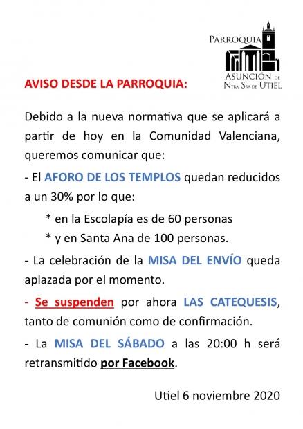 INFORMACION ANTE LAS NUEVAS NORMAS DE LA GENERALITAT ANTE LA PANDEMIA. 7 NOVIEMBRE 2020