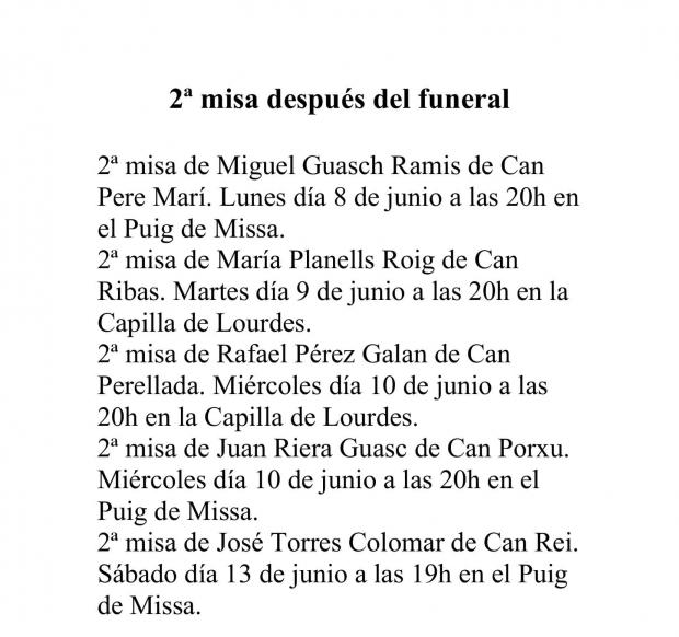 2ª misa después del funeral