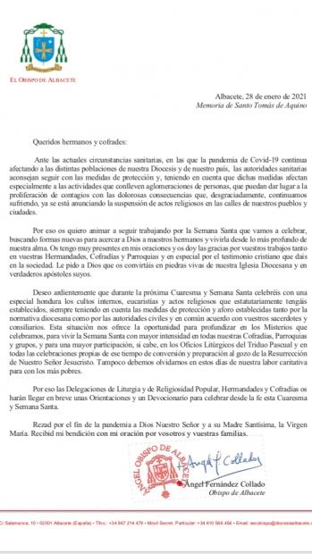 Carta de nuestro Obispo a las cofradías