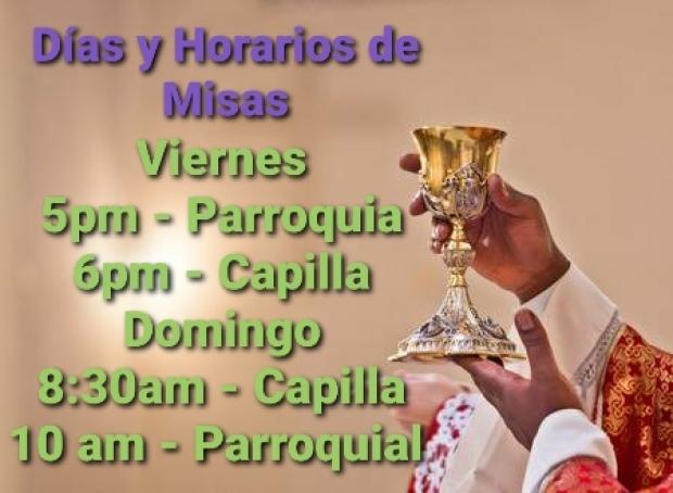 Días y Horarios de Misas