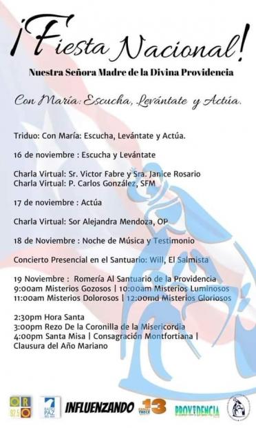 Itinerario Actividad en Honor a la Virgen de la Providencia