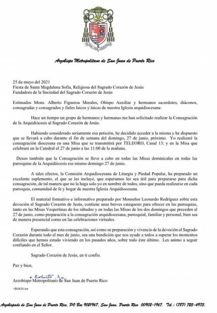 Carta Circular Consagración al Sagrado Corazón de Jesús - 27 de junio de 2021