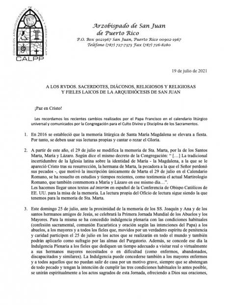 CAMBIOS EN EL CALENDARIO LITÚRGICO UNIVERSAL - PAPA FRANCISCO, comunicados por la Congregación para el Culto Divino y Disciplina de los Sacramentos.