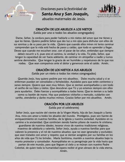 FIESTA DE LA MEMORIA DE SAN JUAQUÍN Y SANTA ANA: PRIMERA JORNADA MUNDIAL DE LOS ABUELOS Y LOS MAYORES