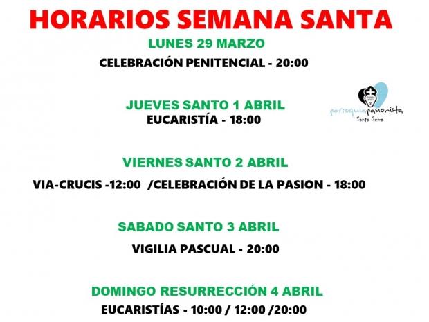 Horarios de las celebraciones de Semana Santa