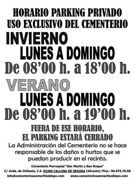 USO Y HORARIO DEL PARKING DEL CEMENTERIO