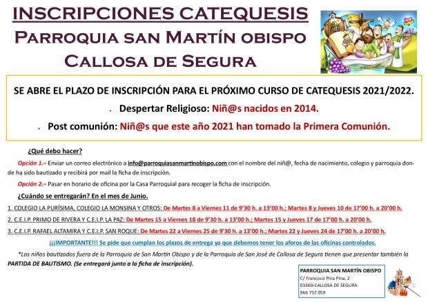 INSCRIPCIONES CATEQUESIS 2021/2022