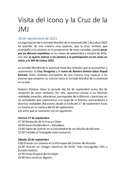 Visita del Icono y la Cruz de la JMJ 18 de septiembre de 2021