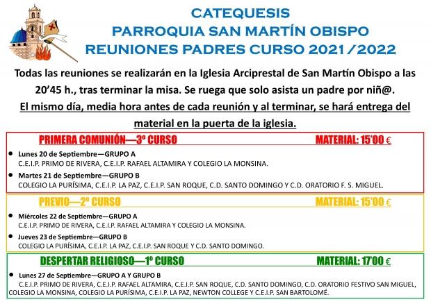 REUNIONES PADRES COMIENZO CATEQUESIS 2021/2022