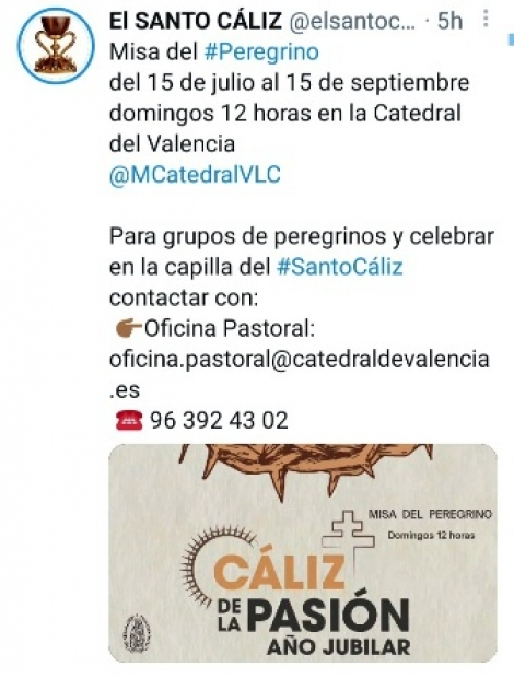 EL CÁLIZ DE LA PASIÓN. AÑO JUBILAR